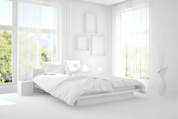Modern bedroom in white color. Scandinavian interior design. 3D illustration