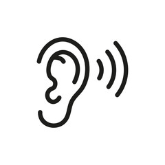 Ear listening icon. Vector. Isolated.