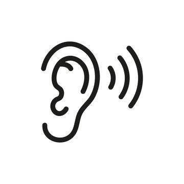 Ear listening icon. Vector. Isolated.