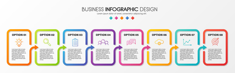 Business infographic template with 8 steps. Vector