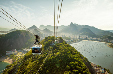 Wall Mural - Cable car going to Sugarloaf mountain in Rio de Janeiro, Brazil