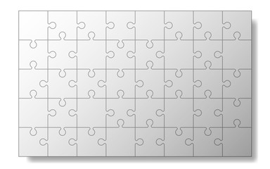 Puzzle mockup templates, 40 pieces, vector illustration