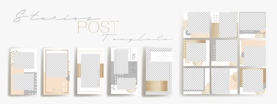 Design backgrounds for social media banner.Set of instagram stories and post frame templates.Vector cover. Mock up for personal blog or shop.Layout for promotion.Endless square puzzle layout