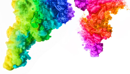 Rainbow of Acrylic Ink in Water. Color Explosion. Colours festival