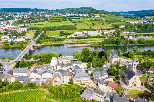 Aerial view of Schengen town center over River Moselle, Luxembourg, the place where Schengen Agreement signed, the birthplace of a Europe without borders. Tripoint of borders with Germany and France