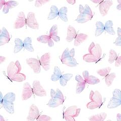 Cute butterflies hand drawn watercolor seamless pattern