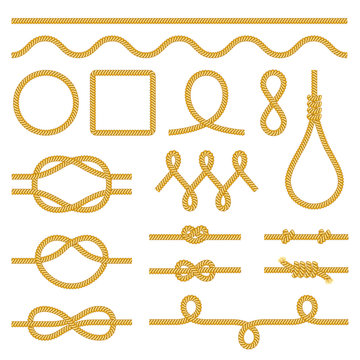 Rope knots icons photo realistic vector set