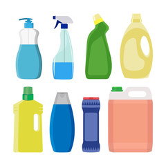 Set of detergent bottles or containers, cleaning supplies, washing powder icon. Vector illustration isolated on white background