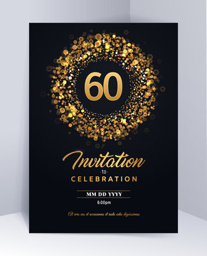 60 years anniversary invitation card template isolated vector illustration. Black greeting card template