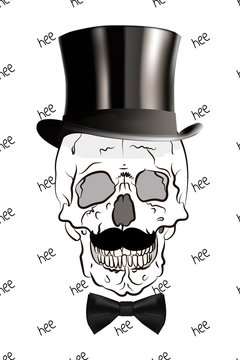 Illustration of skull in top hat and bow-tie. Vector skull print.