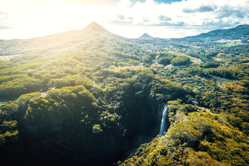 Aerial view of Chamarel Waterfall on Mauritius