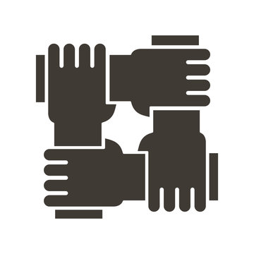 Stylized icon design with 4 hands holding together. Illustration for different concepts like teamwork, community, unity and equality