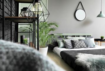 Beautiful interior of modern stylish bedroom Wall mural