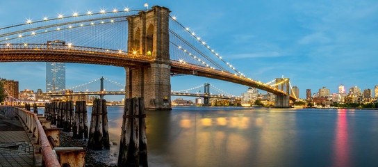 Panoramic View of the Brooklyn Bridge From Manhattan During Summer Time