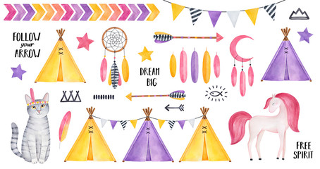 Big Tribal Set with striped kitten character, smiling horse, stars, feathers, dreamcatcher, arrows, tipi tents, bunting, various symbols. Yellow, rose, purple colors. Hand painted watercolour clipart.