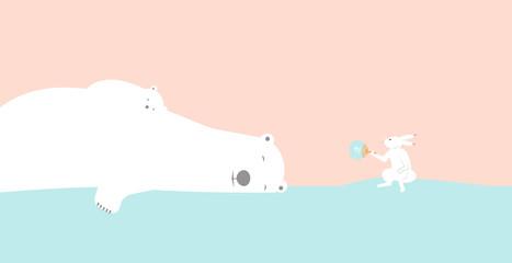 Polar bear sleeping and Rabbit . Cartoon Vector Illustration 鳥獣戯画っぽいウサギが睡眠中のシロクマ親子をうちわで扇ぐ 暑中お見舞い