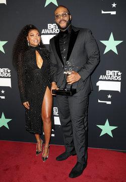 2019 BET Awards – Photo Room - Los Angeles, California, U.S., June 23, 2019 -  Taraji P. Henson poses with Tyler Perry and his Icon Award