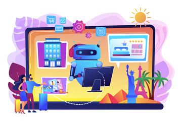 Aluminium Prints Rainbow Online hotel booking system. Smart hospitality industry, autonomous robots for business. Concierge robot, artificial intelligence in tourism concept. Bright vibrant violet vector isolated illustration