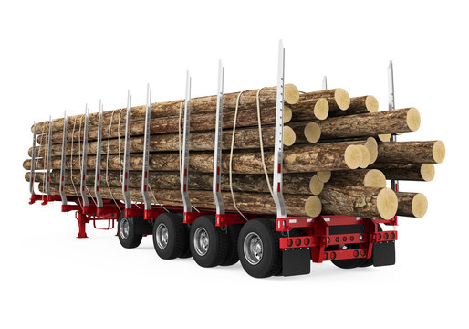 Logging Truck Trailer Isolated