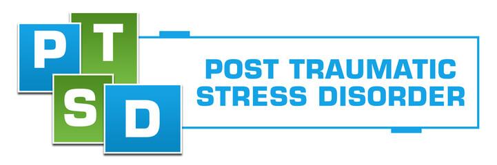 PTSD - Post Traumatic Stress Disorder  Green Blue Squares Left Box