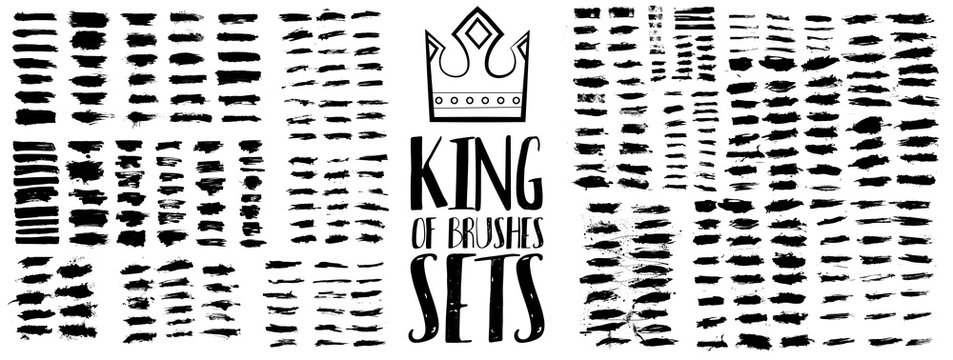 King of brush sets. High quality grunge brush strokes. Exclusive work with a large number of creative brush strokes for any project. Set of black paint, ink brush strokes, brushes, lines. Vector
