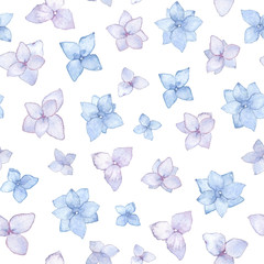 Inflorescence Hydrangea seamless pattern, watercolor illustration.