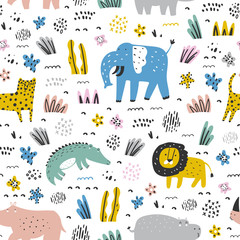 Childish seamless pattern with cute animals and tropical plants. Vector texture in childish style great for fabric and textile, wallpapers, backgrounds. Pastel colors.