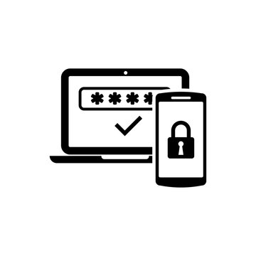Black Multi factor, two steps authentication icon isolated. Vector Illustration