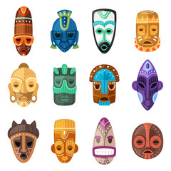 Fototapeta Tribal mask vector cartoon african face masque and masking ethnic culture in Africa illustration set of traditional masked symbol isolated on white background obraz