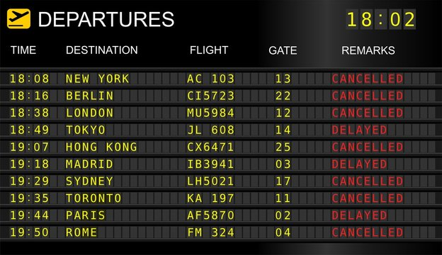Flight departure board. Information display system in international airport, cancelled and delayed flights