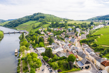 Aerial view of Schengen town center over River Moselle, Luxembourg, the place where Schengen Agreement signed, the birthplace of a Europe without borders. Tripoint of borders with Germany and France Fototapete