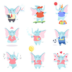 Collection of Cute Elephant Animal Cartoon Character Performing Daily Activities Vector Illustration