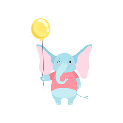 Cute Elephant Standing with Yellow Balloon, Funny Animal Cartoon Character Vector Illustration