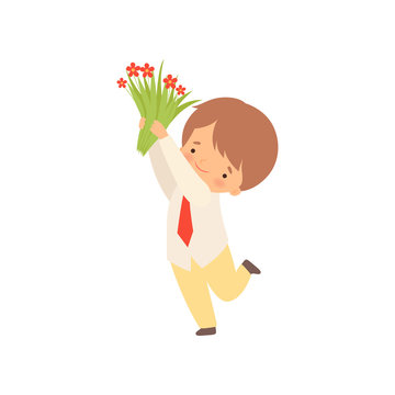 Cute Little Boy Standing with Bouquet of Red Flowers Cartoon Vector Illustration
