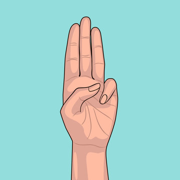 Girl shows three fingers on blue background. Scout honor hand gesture. Gesture of respect and appreciation. Salute for scout.