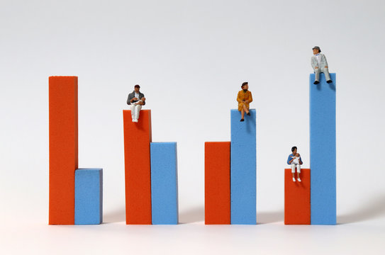 Miniature people sitting on a bar graph. The concept of population change.