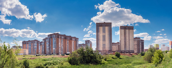 Moscow. June 19, 2019. Beautiful view of the new residential complex Tatyanin Park in the area of Solntsevo. Panorama Wall mural