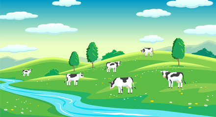 Poster Turquoise Colorful farm summer landscape, blue clear sky with sun, cows on field
