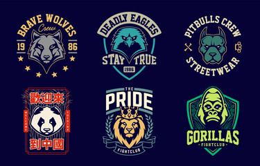 Emblem design templates with different animals mascots. Sport team badges designs. Vector set.