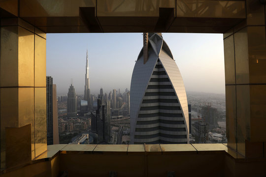 General view of the Burj Khalifa, the world's tallest building, and the Dubai skyline from the Gevora Hotel, in Dubai