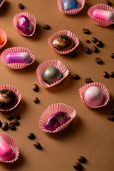Set of luxury chocolate bonbons and coffee beans