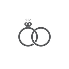 Engagement rings vector icon isolated on white background