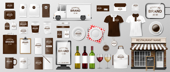Corporate Branding identity template design for restaurant Coffee, Cafe, Fast food. Realistic set of uniform, delivery truck, food cart, street menu and package MockUp. Vector illustration