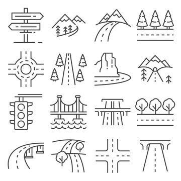 vector illustrations line road and highway, traffic and driving icons set