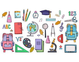 Set of school supplies. Vector colorful illustration. Hand drawings isolated on white background.