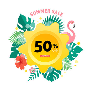 Summer sale banner with flamingo and tropical leaves background, exotic floral design for banner, flyer, invitation, poster, web site or greeting card. Vector illustration