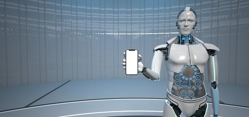 Fototapete - Humanoid Robot Smartphone