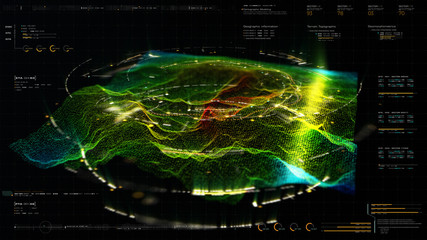 Wall Mural - Futuristic Holographic Terrain environment, geomorphology, topography and digital data telemetry information display motion graphic user interface head up display screen