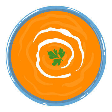 Pumpkin soup in a bowl with sour cream and parsley, top view, isolated on white background. Healthy clean balanced natural vegetarian detox meal. Vector illustration.