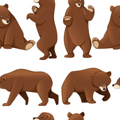 Seamless pattern of grizzly bears. North America animal, brown bear. Cartoon animal design. Flat vector illustration on white background